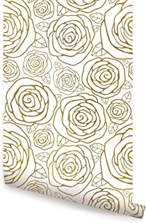 Gold Roses Wallpaper - 2 ft x 9 ft - Single - by Simple Shapes