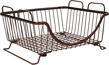 Spectrum Diversified Ashley Stackable Tray, Wire Basket With Raised Feet and Looped Handles Modular Stacking Bin System fo...
