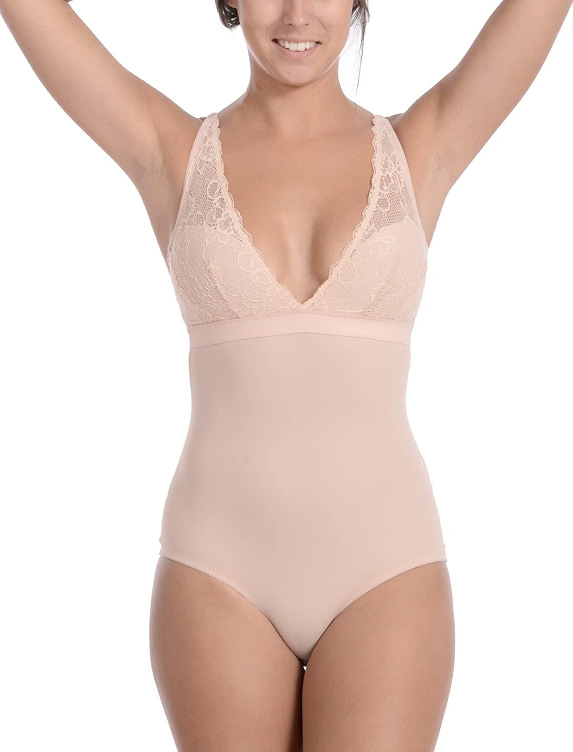 Body Beautiful Plus Size, Sexy Slimming Body Suit with Lace at Bust and Butt (Nude, 2X)