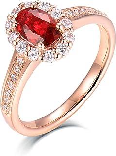 ButiRest - Anello da donna in oro rosa 750, 18 carati, con 4 artigli, taglio ovale da 0,5 ct, rubino VS e diamante da 0,3 ...