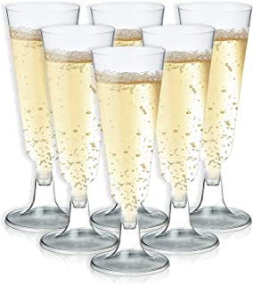 50-Pack Clear 5-Ounce Disposable Reusable Toasting Glass Holiday Party Supplies New Year Gold Rimmed Plastic Champagne Flutes Elegant Cups for Wedding Birthday Christmas 6.4 Inches Tall Juvale