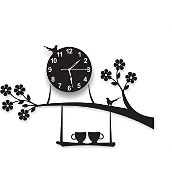 invision1 3D Acrylic Wall Clock Tree Bird Coffee Cup On Jhula Design for Living Room, Bedroom Wall, Home and Office - Black