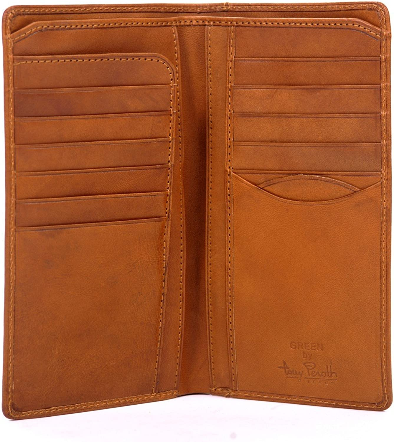 Italian Cow Leather Bifold Checkbook Breast Pocket Wallet with ID Window Multi Business & Credit Card Slots