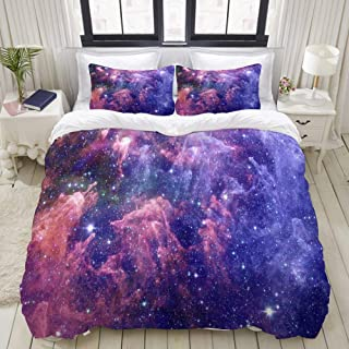 """Mokale Bedding Duvet Cover 3 Piece Set - Distant Galaxy Space Background - Decorative Hotel Dorm Comforter Cover with 2 Pollow Shams - Queen 90""""x90"""""""
