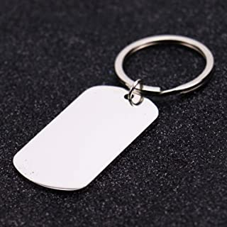 Monrocco 5pcs Stainless Steel Rectangular Keychain, Personalized Dog Tag Keychain