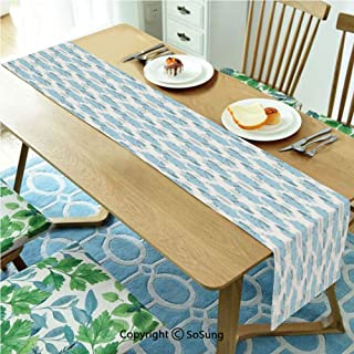 Elephant Nursery Decor Table runner for Farmhouse Dining Coffee Table Decorative,Cute Happy Smiling Elephants Kids Pattern with Dots 14