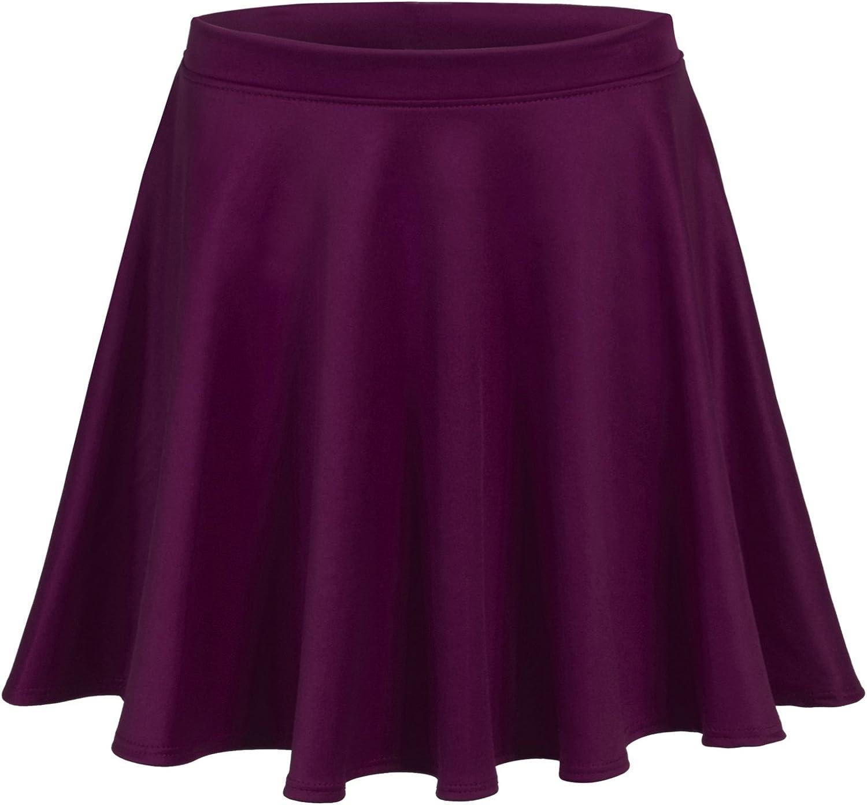 BOHENY Womens Solid Versatile Stretchy Flared Skater Skirt