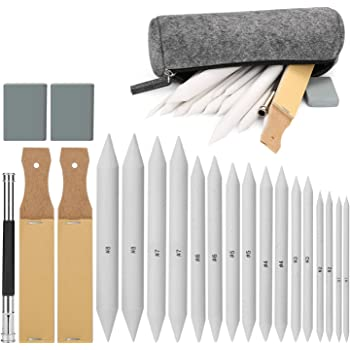 8 Pieces Blending Stumps and Tortillions Set with 2 Pieces Sandpaper Pencil Sharpener for Student Sketch Drawing By DINGJIN