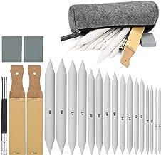 ابزار نقاشی نقاشی، AGPTEK 16 مخلوط کردن سمباده با 2 تیز کننده مداد سندباد، 1 ابزار تقویم مداد، 2 پاک کن و 1 کیسه فلت برای لوازم نقاشی نقاشی دانشجویی