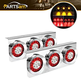 Partsam 2Pcs 54 LED Truck Trailer Tail Lights Bar with Chrome Iron Bracket Base Waterproof 24V 4 Inch Round Led Trailer Tail Lights Bar Stop Turn Signal Running Parking Lights Lamps RV Camper