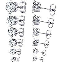 6 Pairs LUXUSTEEL 3-8mm Stainless Steel Cubic Zircon Stud Earrings Set
