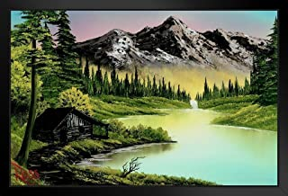 Bob Ross Mountain Retreat Painting Black Wood Framed Art Poster 14x20