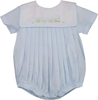 Petit Ami Baby Boys` Square Collar Romper with Train Embroidery