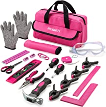 REXBETI 25-Piece Kids Tool Set with Real Hand Tools, Pink Durable Storage Bag, Children..