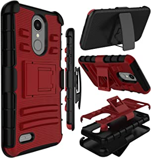 LG LV3 2018 Case, LG Aristo 3 Case, LG Tribute Dynasty/Empire Case, Zenic Heavy Duty Shockproof Full-Body Protective Hybrid Case with Swivel Belt Clip and Kickstand for LG Rebel 3/LG Aristo 2(Red)