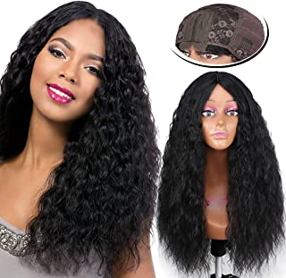 Fashion Icon 30 Inch Lace Front Wigs Long Wavy Synthetic Wigs For Women Natural Wave 2 X 6 Inch Hand-tied Scalp Deep Middle Part Hair Replacement Curly Wigs 150 Density (Black Color)
