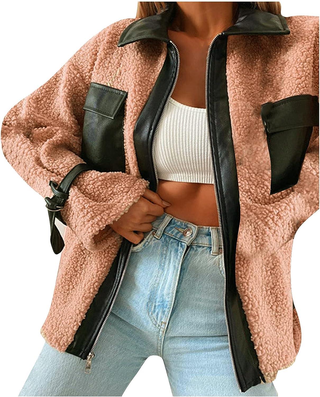 Rovga Women's Sherpa Fleece Jacket Faux Fuzzy Long Sleeve Casual Zip Up Splicing Coat with Pockets