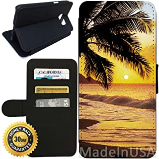 Flip Wallet Case for Galaxy S7 (Beach Scene at Sunset Water Palm Tree) with Adjustable Stand and 3 Card Holders | Shock Protection | Lightweight | Includes Stylus Pen by Innosub