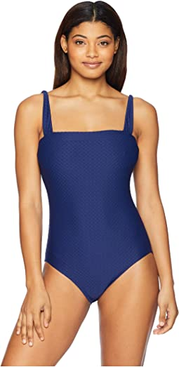 Clean Slate Solids Bandeau Maillot One-Piece