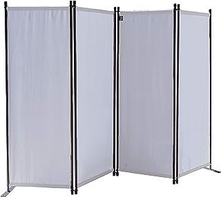 QUICK STAR Paravent 220 x 165 cm Tejido Divisor de habitación Jardín 4-Partición Pared de separación Plegable Balcón Pantalla de privacidad Blanco