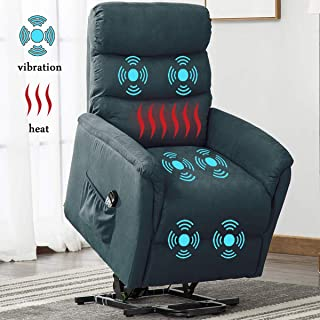 Electric Power Lift Recliner Chair, BONZY HOME Remote Control Chair with Massage Heat and Vibration for Elderly, Blue