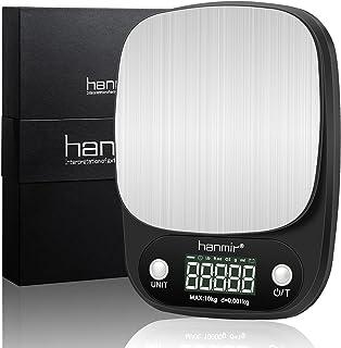 デジタルキッチンスケール Hanmir 0.003kgから10kgまで 高精度 クッキングスケール キッチンスケール 精密電子ハカリ 防滴 風袋引き 自動電源切れ 単位切替 mlモード 測り コンパクト薄型 日本語説明書付き(電池含む)