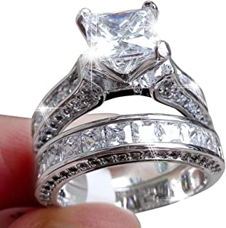 Balakie Womens Vintage Diamond Silver Engagement Wedding Band Ring Set