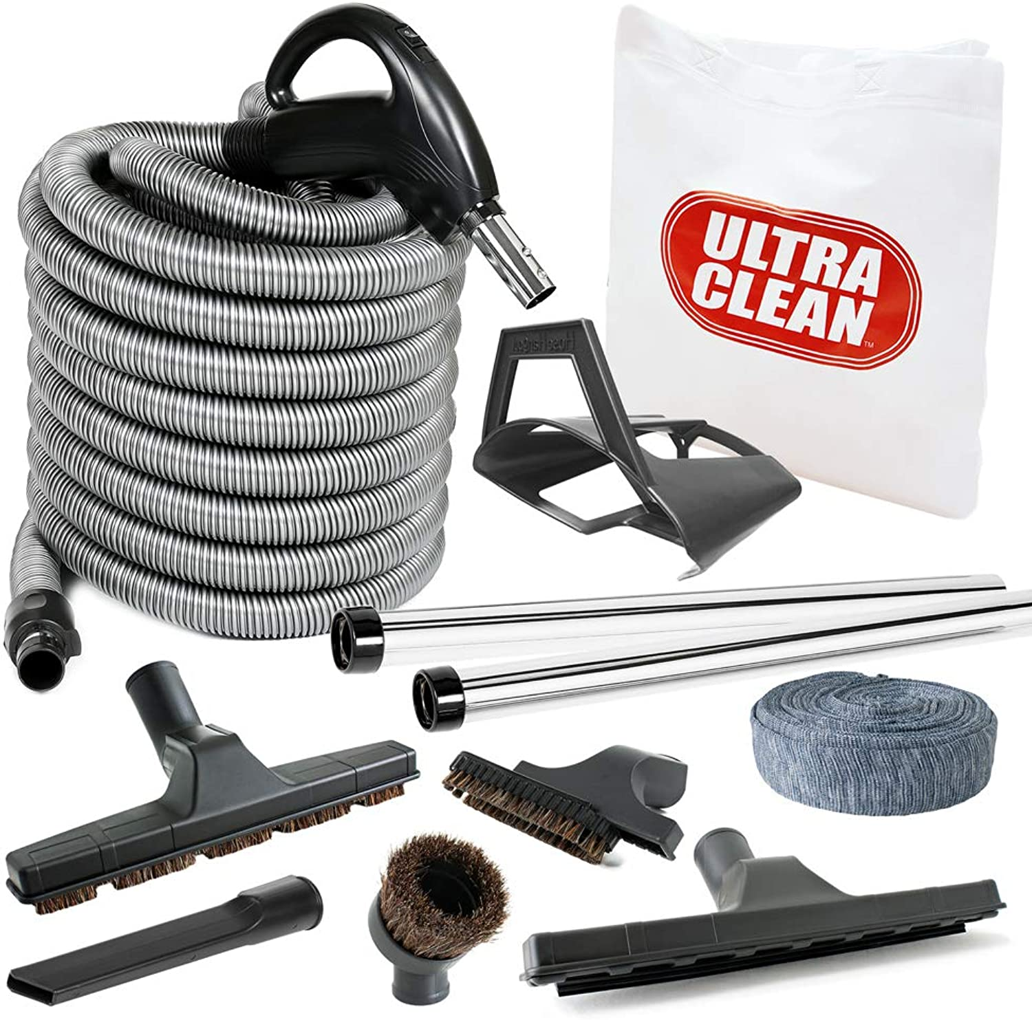 Ultra Clean Central Vacuum Deluxe Hardwood, Bar Floor and Carpet Kit, with with 35ft Hose and Accessories