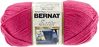 Bernat Satin Solid Yarn , Gauge 4 Medium Worsted 100% Acrylic - 3.5oz - Fuchsia - Machine Wash & Dry