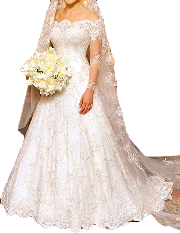 Annxpink Women's ALine Long Sleeve Off The Shoulder Appliques Lace Wedding Dress Bridal Gown
