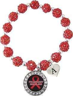 Custom Pulmonary Embolism Awareness Red Bling Bracelet Jewelry PE Lung Choose Initial
