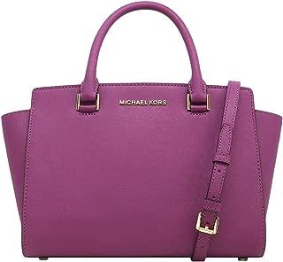 Michael Kors Selma Saffiano Leather Medium Top Zip Satchel Bag