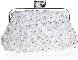 Clutch Wallet Beaded Dinner Ladies Dress Handbag Pearl Crossbody Bag Bride Lace Flower Shoulder Bag Wedding Rhinestone Pocket (23×4×13cm)