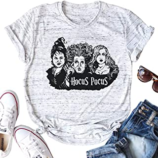 Halloween T-Shirt Women Hocus Pocus Shirt Sanderson Sisters Tees Vacation Tops Casual Clothes