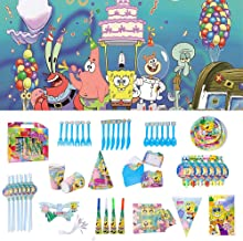 Nidezon SpongeBob Party Supplies Set-100 Pieces SpongeBob Birthday Decoration Shower Decorations Backdrop Banner Cake Topper Paper Hat Gift Bag Table Cloth- Serves 6 Guest