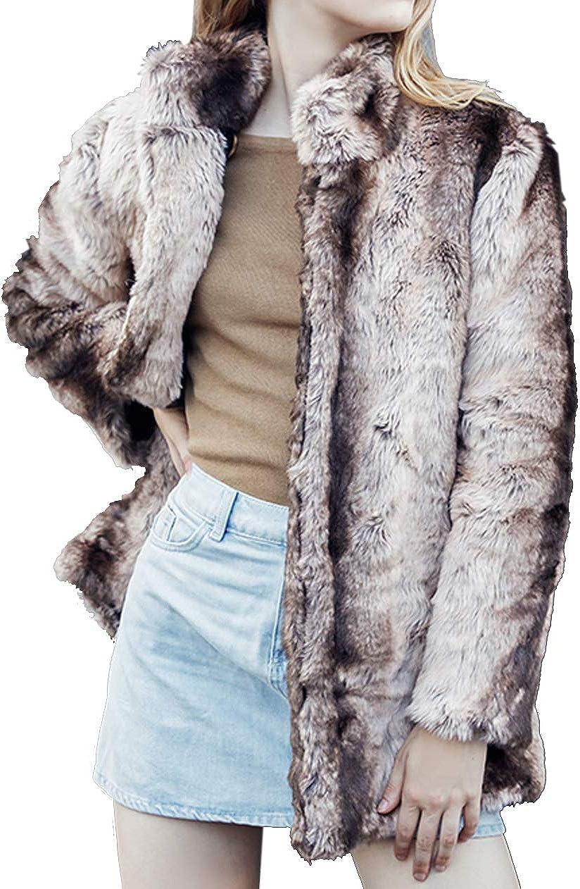 Aishang Women's Winter Gradient Stripes Standing Collar Faux Fur Coat Jacket