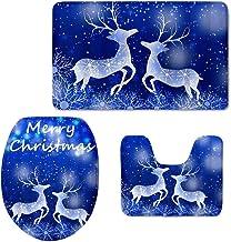 LedBack Merry Christmas Bathroom Rug Set 3Piece Bathroom Non-Slip Floor Mat Snowflake Elk Happy Santa Claus Jingle Bell St...