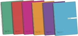Enri 400042280 Pack de 5 cuadernos espiral, tapa plástico