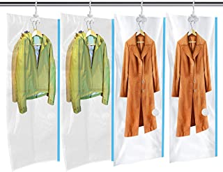 MRS BAG Hanging Vacuum Storage Bags 4 Jumbo(57x27.6'') Space Saver Bag Dress Cover with Hook for Coats, Jackets, Clothes & Closet Storage - Hand Pump Included