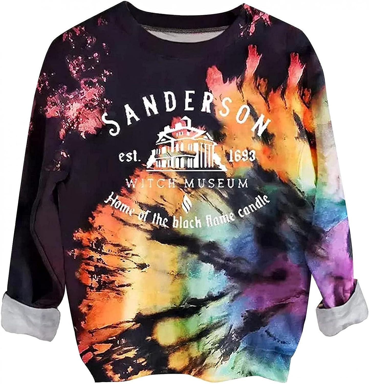 AODONG Sweatshirt for Women,Womens Tops Long Sleeve Girls Fashion Colorblock Tie Dye Casual Loose Crewneck Pullover Tops