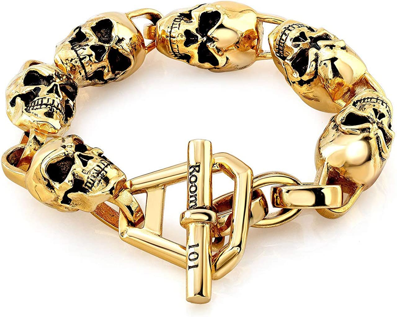 Seasonal Wrap Introduction Super intense SALE Room101 Stainless Steel Skull Link Bracelet - and Choise of Size