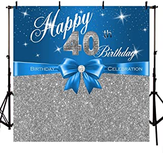 MEHOFOTO Happy 40th Birthday Photo Background Blue and Silver Glitter Bow Birthday Celebration Banner Backdrops for Photography 8x8ft