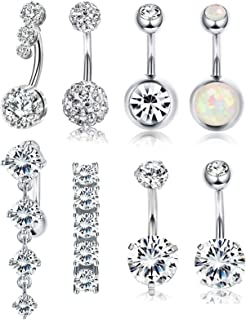 14G Dangle Belly Button Rings Navel Piercing Jewelry for Women Stainless Steel Long Belly Button Ring Set