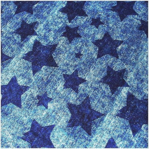 VmG-Store (17,32€/m² Jersey Stoffe Meterware zum Nähen II Baumwolljersey Kinderstoff 150 cm breit (JA002 Used Jeans Sterne Blau 50 x 150cm)