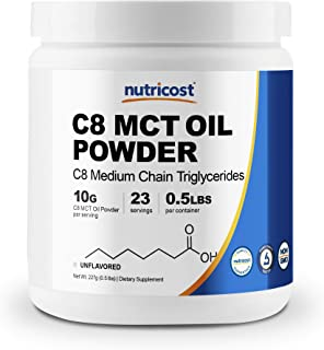 Nutricost C8 MCT Oil Powder .5LB (8oz) - 95% C8 MCT Oil Powder