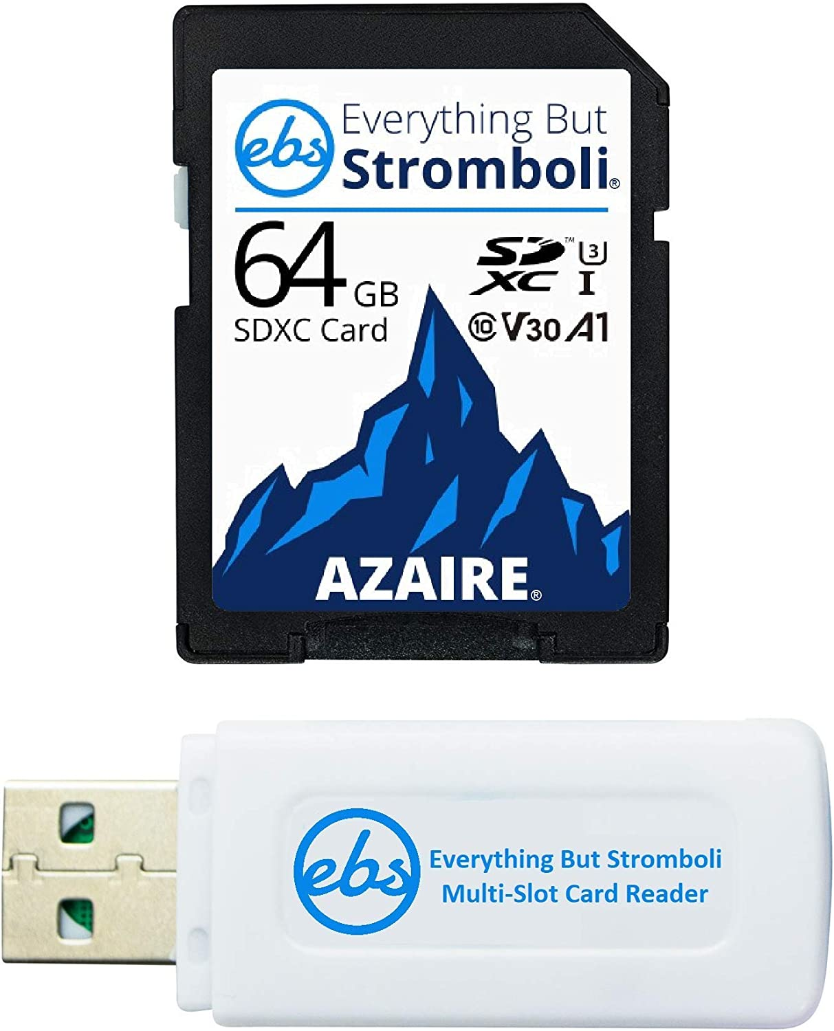 Everything But Stromboli 64GB SD Card Class 10 UHS-1 U3 Speed C10 V30 64G SDXC Memory Card for Compatible Camera, Computer, Video Camcorder Bundle with (1) SD & Micro Card Reader
