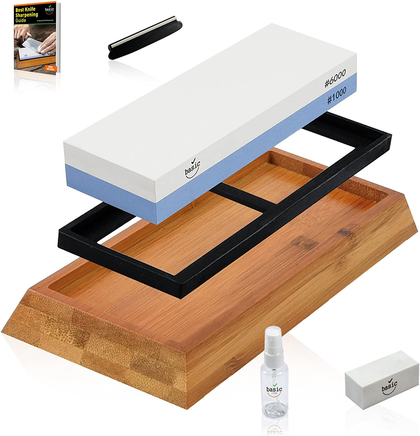 WarriorStone Whetstone Sharpening Stone – Sharpen Everything Quickly, Easily & Safely w  Powerful Professional Knife Sharpening Kit, Non-Slip Silicone Lined Bamboo Base, Angle Guide, Flattening Stone