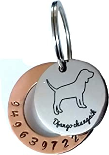 Streetsoul Pet ID Personalized Copper Hand Stamped Tag for Pet Dog, Cat ID Customized Dog Tag (Round Coppper Steel)