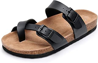 Slip on Flat Cork Mayari Sandals for Men with Adjustable Strap Buckle Open Toe Slippers Suede Sole