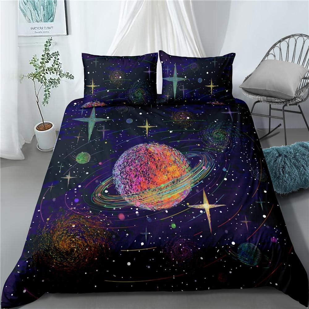 CLZHAO Parure de lit avec Housse de Couette et 2 Taies d'oreiller Galaxy Série Univers-F 3D Imprimé Microfibre Polyester Doux Ensemble de Literie pour Adulte Enfant 240x220cm A